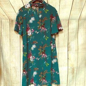 Worthington Teal Floral Butterfly Shirt/Dress